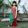 Fancy Eastern Gotta 3 PCs Suit For Girls - Red (GS-002)
