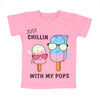 Just Chill T'Shirt For Girls - Pink (BTS-038)