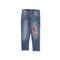 Flower Embroidery Denim Pant For Girls - Blue (DP-15)