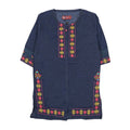 Flower Embroidery Denim Kurti For Girls - Dark Blue (GK-02)