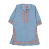 Flower Embroidery Denim Kurti For Girls - Blue (GK-01)