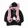 Rabbit Hooded Puff Jacket For Girls - Black (GJ-09)