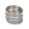 Fancy Fashionable Bangles For Girls - White/Silver (21035)