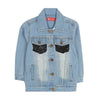 Love Sequin Denim Jacket For Girls - Blue (1909)