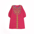 Embroidery Geometry Top For Girls - Maroon (GT-05)