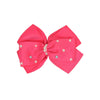 Stone Bow Hair Pin For Girls - Fuchsia (9266)