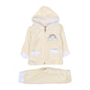 Rainbow Hooded 2 PCs Suit For Infants - Yellow (IS-02)