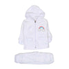 Rainbow Hooded 2 PCs Suit For Infants - White (IS-06)