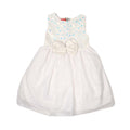 Fancy Glitter Bow Frock For Girls - White (GF-19)