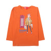 London Style Sequin T-Shirt For Girls - Orange (2007)
