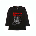 Travel New Places Printed T-Shirt For Boys - Black (BTS-04)