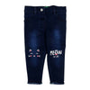 Meow Denim Pant For Girls - Dark Blue (DP-042)