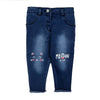 Meow Denim Pant For Girls - Light Blue (DP-043)