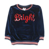 Bright Velvet Casual Top For Girls - Navy (GT-048)