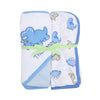 Triceratops Baby Bath Towel 2 Pcs - Blue/White