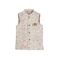 Fancy Stripes Printed Waistcoat For Boys - White (WC-01)