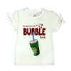Bubble Drink Sequin T-Shirt For Girls - White (GTS-24)