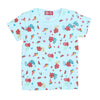 Flowers Printed T-Shirt For Girls - Sky Blue (TZ-03)