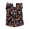 Flowers Print Casual Net Top For Girls - Black (4314)