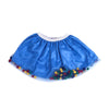 Pom Pom Net Skirt For Girls - Blue (GS-012)