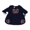 Slub Emb Blossom Top For Girls - Navy (GWT-003)
