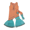 Fancy Eastern Mirror 3 PCs Suit For Girls - Green/Peach (E3PC-18)