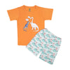 Dinosaur Printed 2 PCs Suit For Boys - Orange (SB-026)