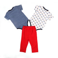 Monkey Romper 3 PCs Set For Infants - Multi (IS-10)
