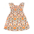 Rose Flowers Printed Frock For Girls - Orange (1689)