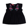 Flamingo Embroidery Top For Girls - Black (4313)