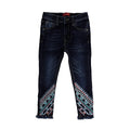 Emb Denim Pant For Girls - Navy Blue (DP-003)