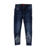 Emb Denim Pant For Girls - Dark Blue (DP-006)
