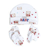 Teddy Bear Baby Cap Set - White (0014-A)