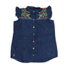 Flower Embroidery Denim Top For Girls - Blue (4303)