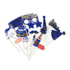 Happy Birthday Photo Props Blue/Gold - 15 Pcs (1585)
