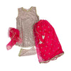 Fancy Sequin 3 PCs Suit For Girls - H.Pink (GS-005)