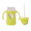 Heart Design Straw Water Bottle 300ml - Green (6865)