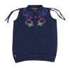 Butterfly Embroidery Denim Top For Girls - Navy (4301)