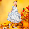 Fancy Flower Tie & Dye Frock For Girls - Blue (GF-02)