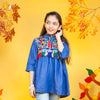Embroidery Tassels Denim Top For Girls - Blue (GT-04)