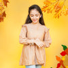 Armhole Frill Printed Top For Girls - Orange (GT-035)