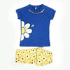 Sunflower Printed Night Suit For Girls - Blue/Yellow (001)