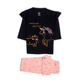 Unicorn Printed Night Suit For Girls - Black/Pink (003)