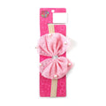 Fancy Bow Pearl Frill Headband - Pink (HB-60)