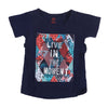 Live In The Moment T-Shirt For Girls - Dark Blue (7926)