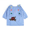 Butterfly Embroidery Check Top For Girls - Blue (4306)
