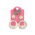 Stylish Round Shape Earrings For Girls - White (13539)
