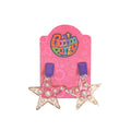 Pearl Star Earrings For Girls - Purple (13539-43)