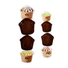 Ice cream Chocolate Shape Lunch Box 4 PCs - Brown (S1303)