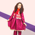 Eastern Frock & Vasket 3Pcs Suit For Girls - Magenta (E3PC-05)